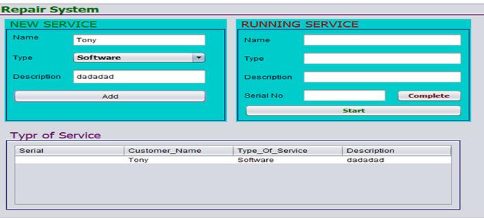 Repair service system in java
