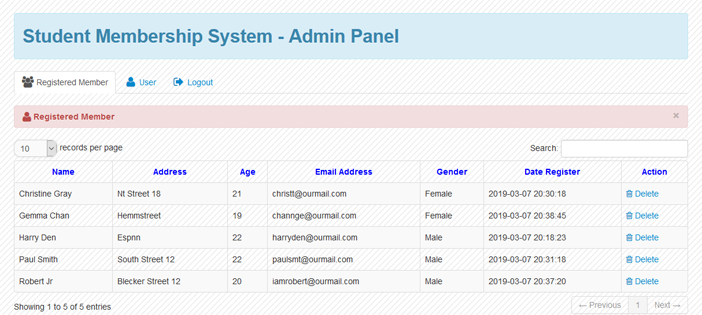 Student Membership System in php