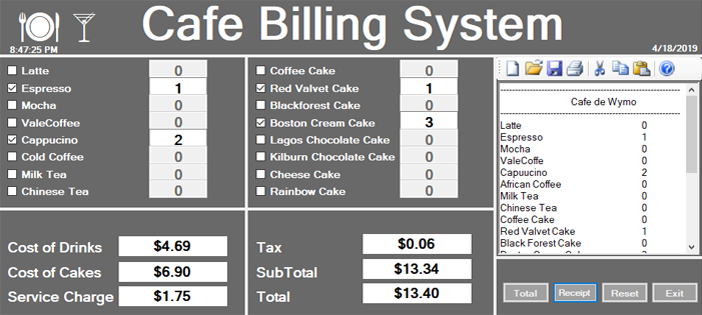 Cafe Billing System in C#