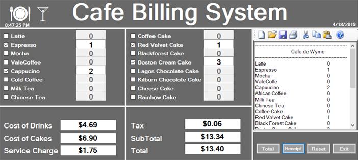 Cafe Billing System in C#