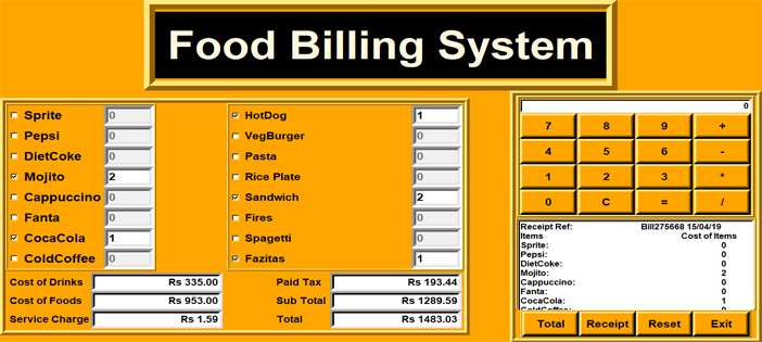 Food Billing System In PYTHON