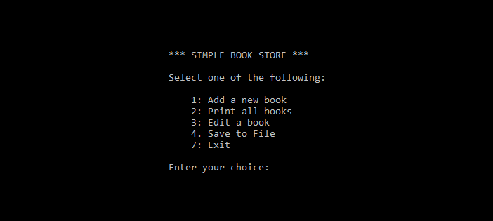 Simple Book Store in C++