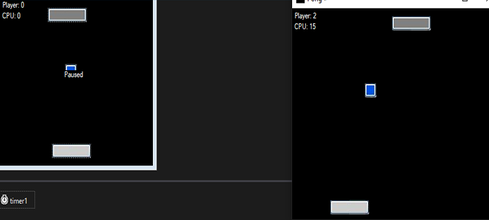 pong game in c# with updated version with source code