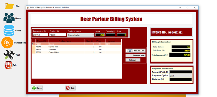 Beer Parlour Billing System in VBNET