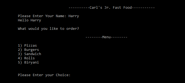Simple Food Order System C++