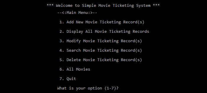 Simple Movie Ticketing System in C programming