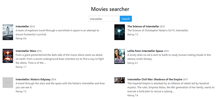 ReactJs Movie Finder
