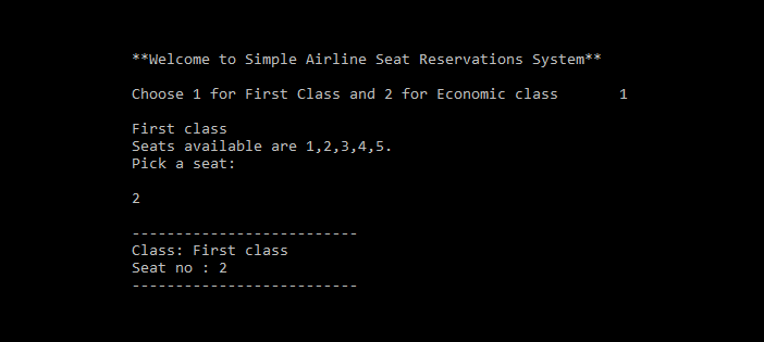 Simple Airline Seat Reservation System in C Programming