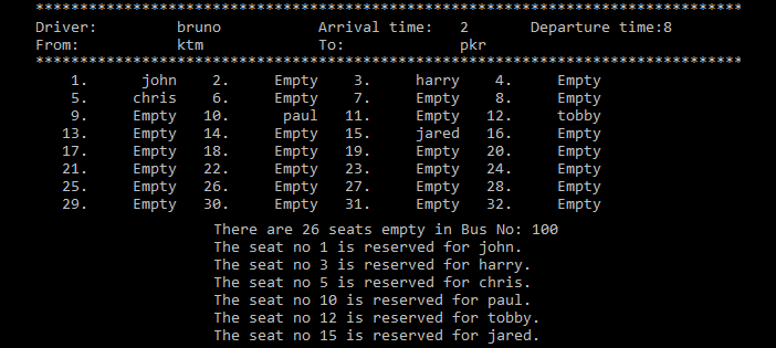 Simple Bus Reservation System in C Programming