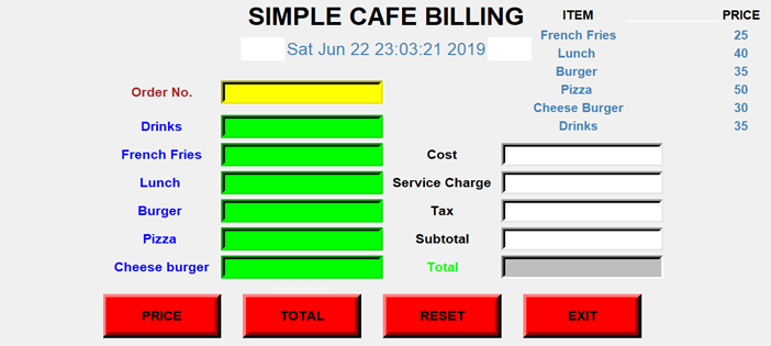 Simple Cafe Billing System In PYTHON With Source Code