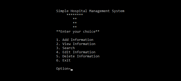 Simple Hospital Management System in C Programming