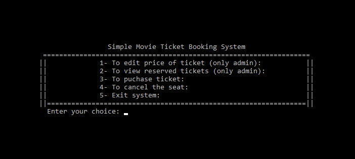 Simple Movie Ticket Booking System in C Programming
