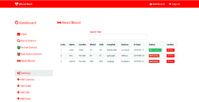 image of bloodbank managing system