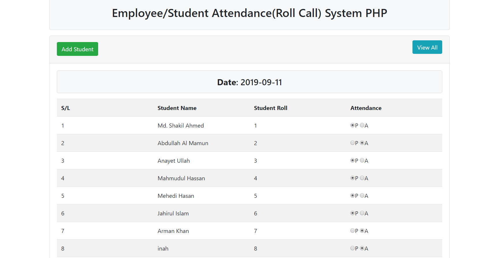 Student Employee Attendance System In Php With Source Code Source Code Projects