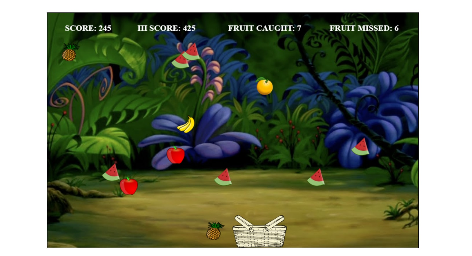 CATCH THE FRUIT GAME IN JAVASCRIPT WITH SOURCE CODE