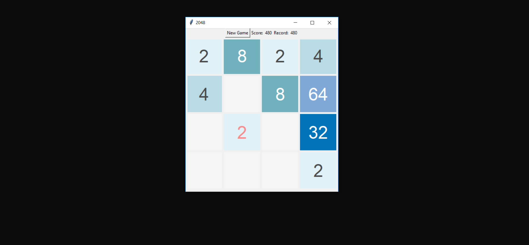 image of simple 2048 game