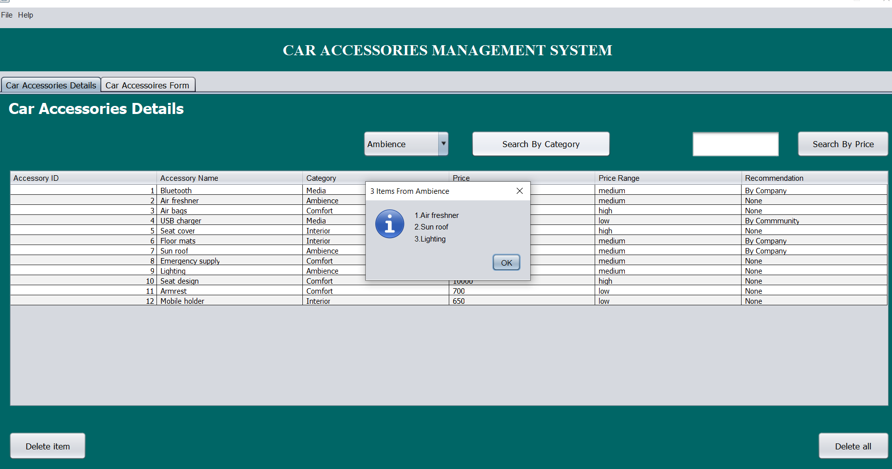 car accessories system