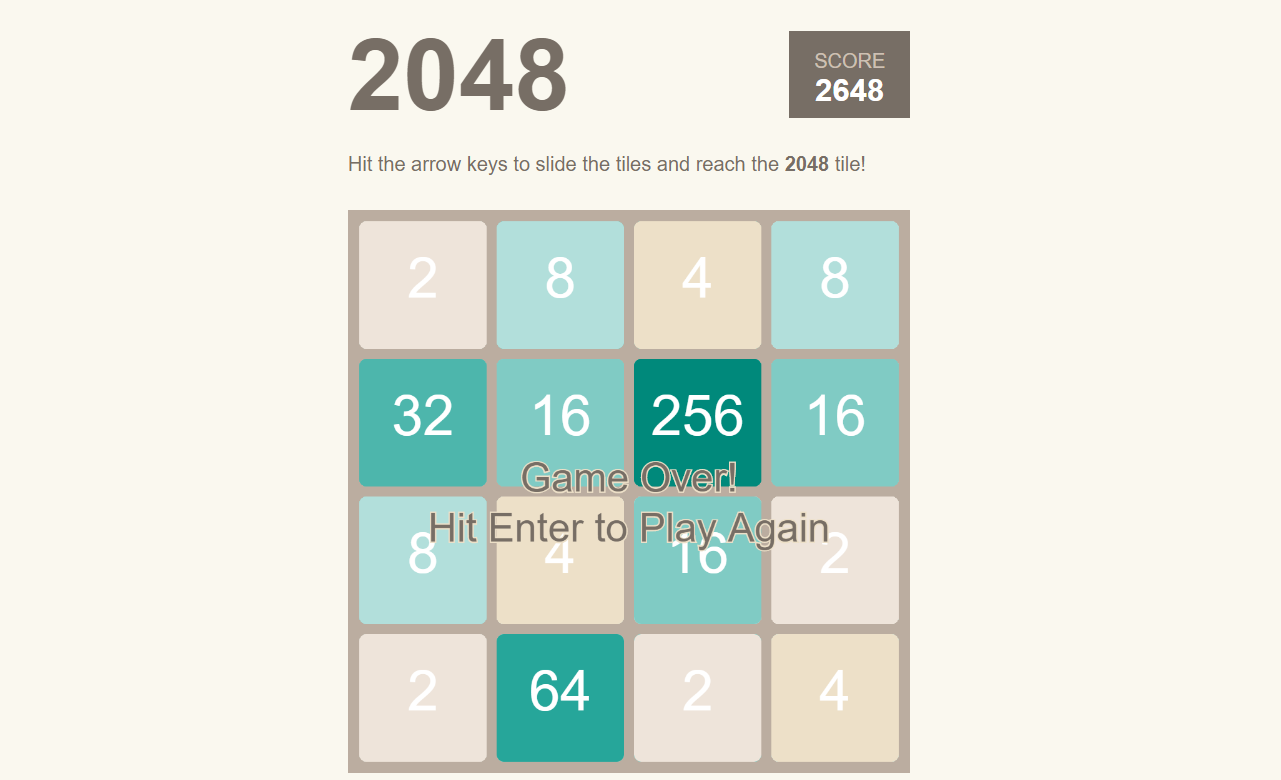 simple 2048 game
