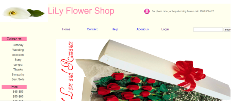 Online Flower Shop in php