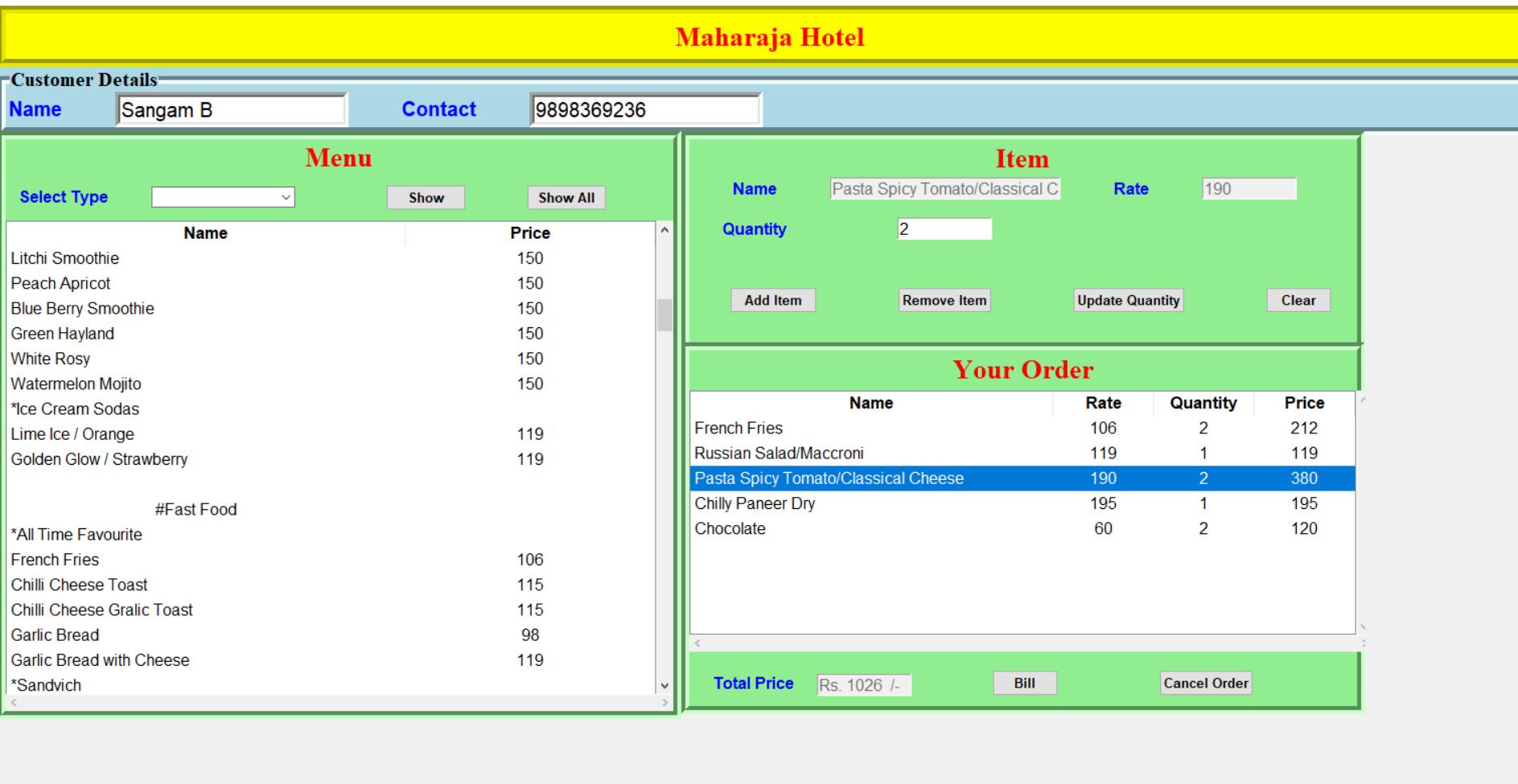 hotel billing system