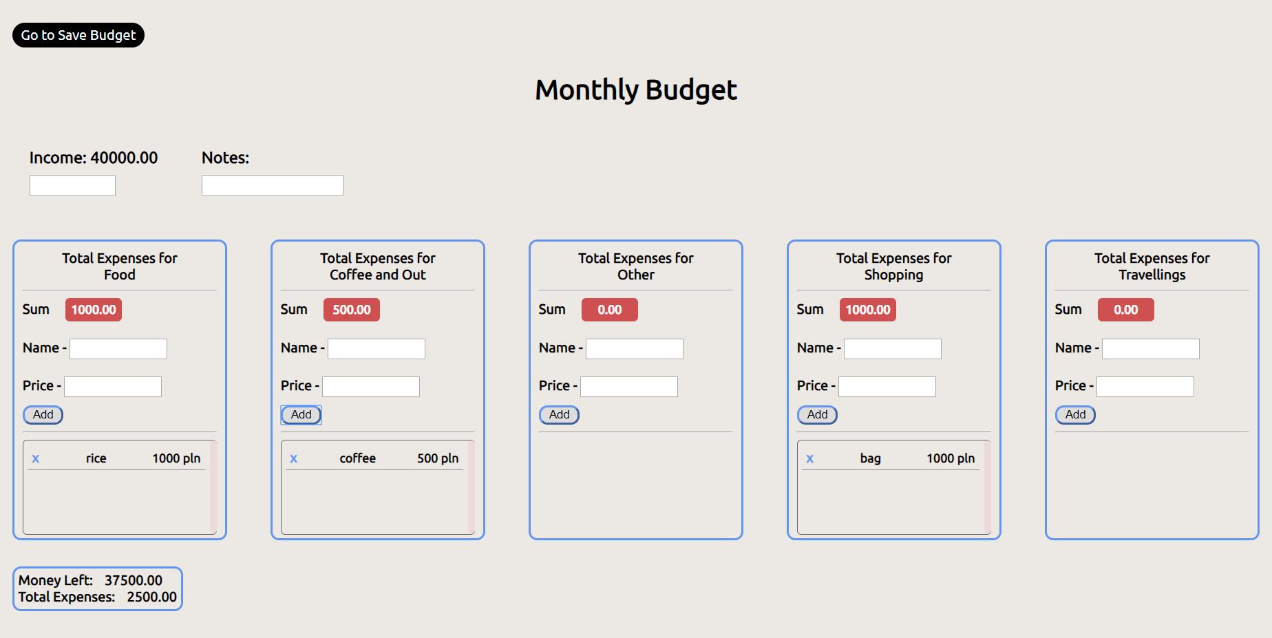 custom budget app