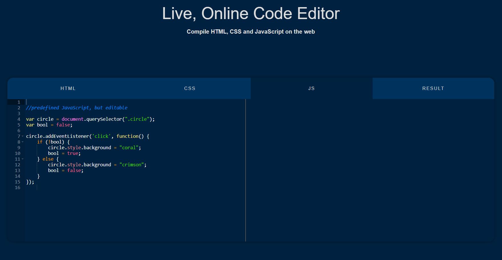 live code editor