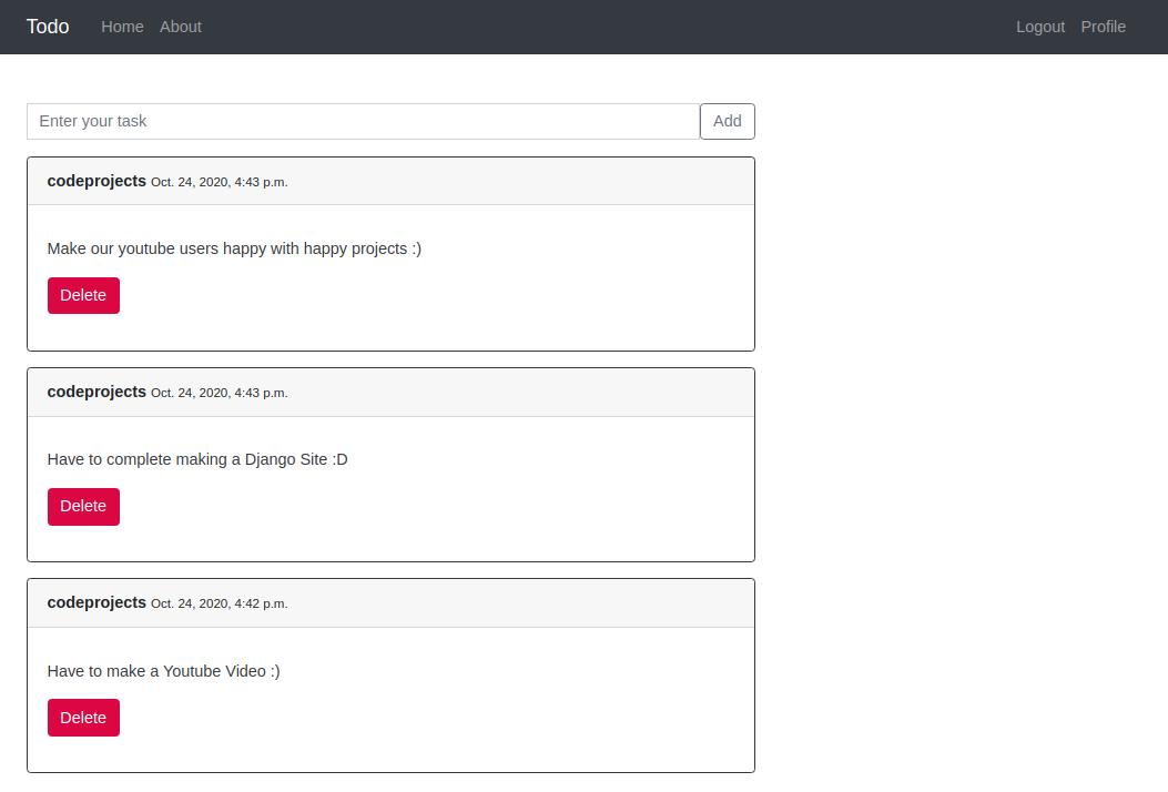 Simple To-do App using Django Framework