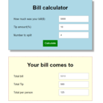 Tips Calculator In JavaScript With Source Code