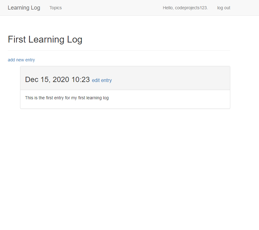 Learning Log application in Django Framework