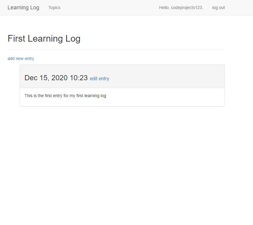 Learning Log application in Django Framework
