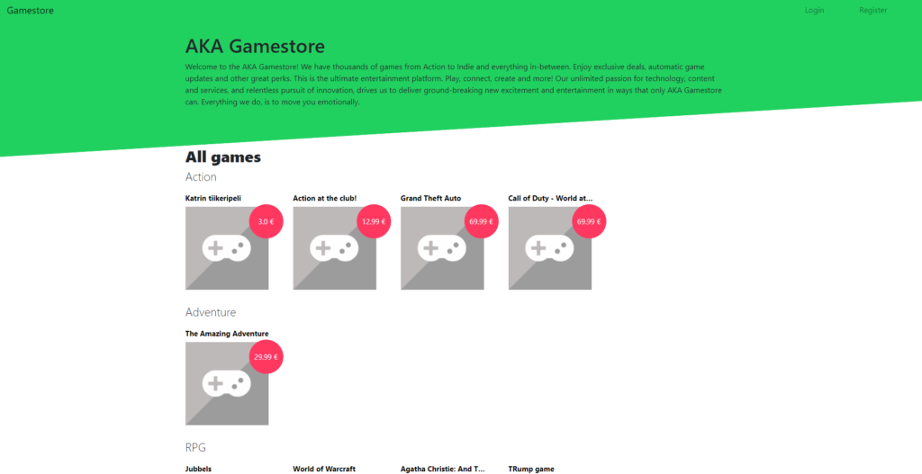 Game Store E-commerce developed using  Django