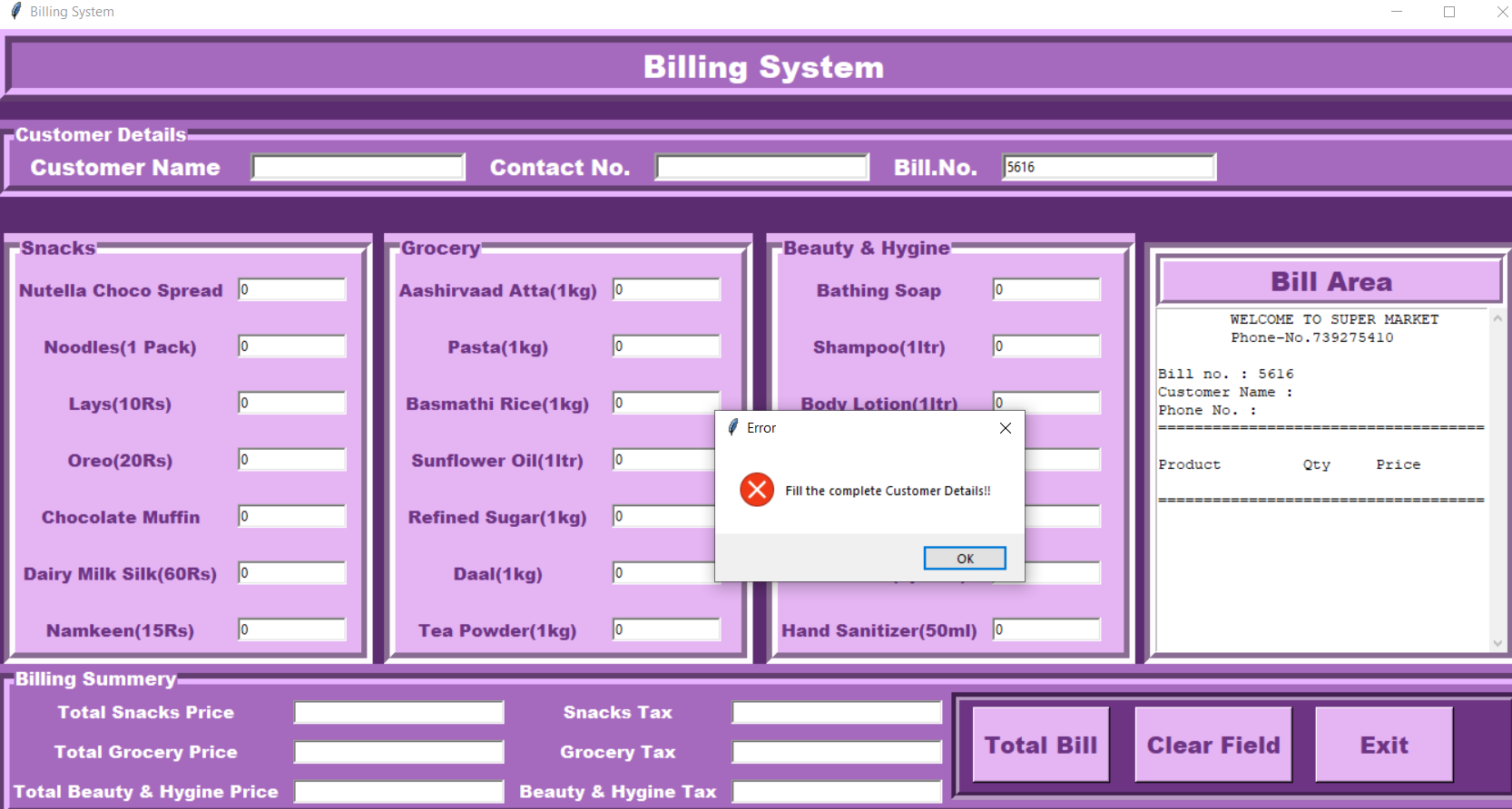 simple billing system