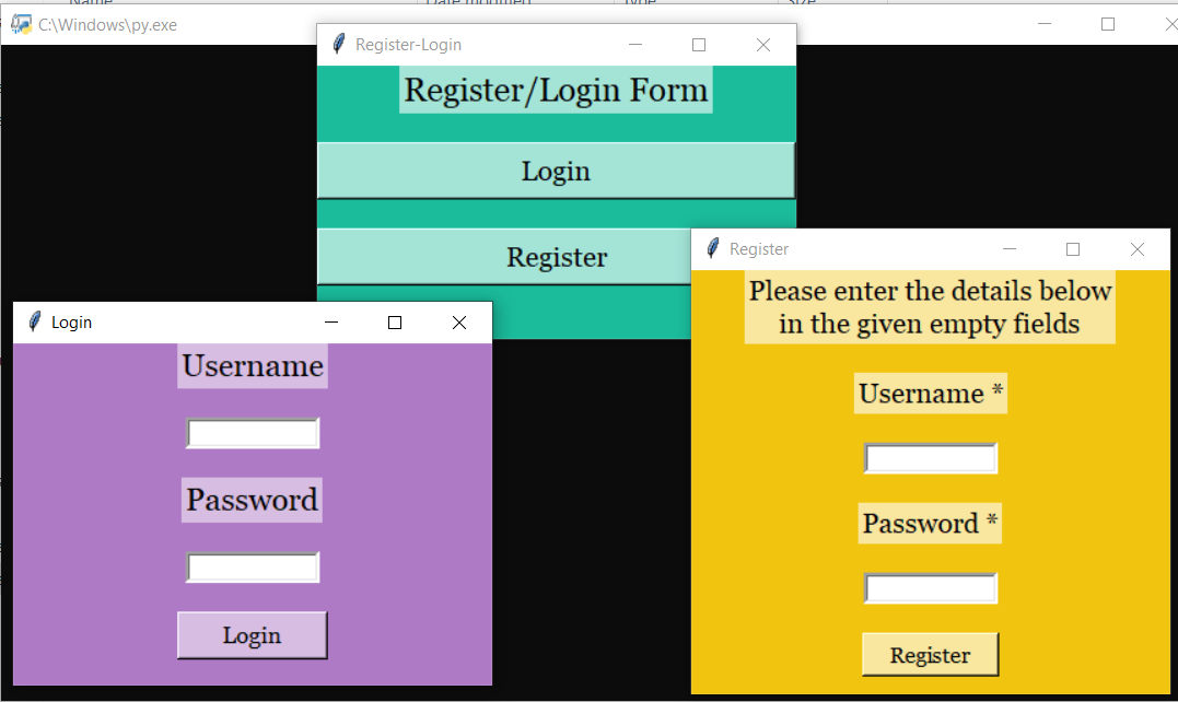 register login form