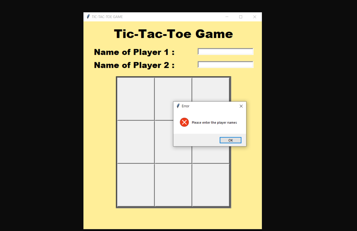simple tictactoe game