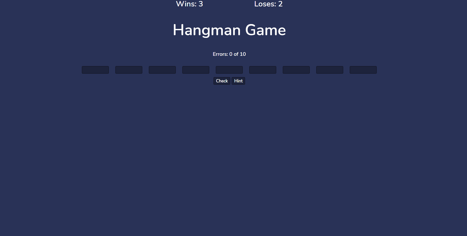simple hangman game