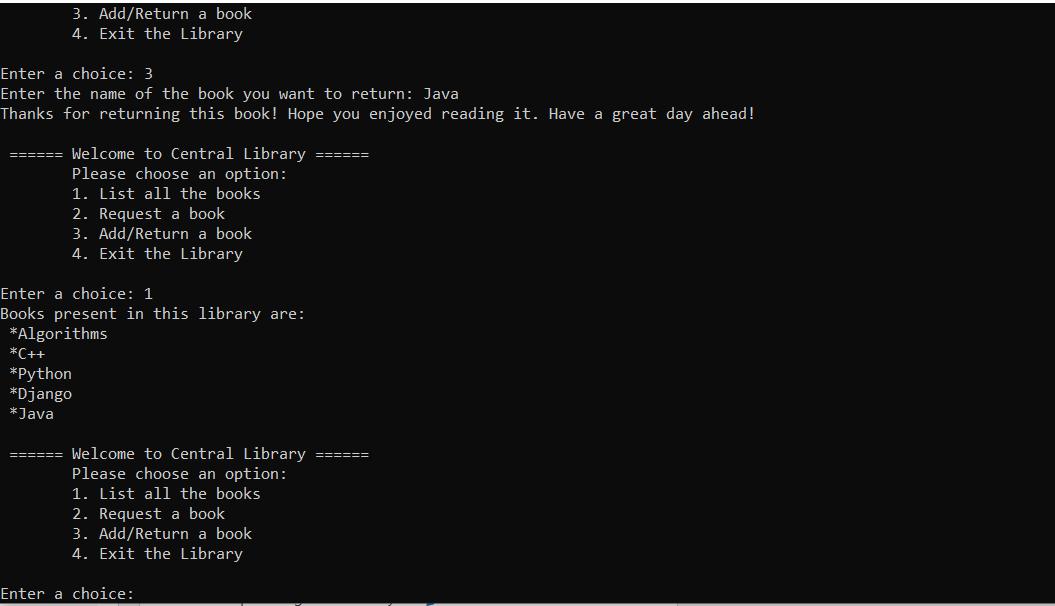 library menu system