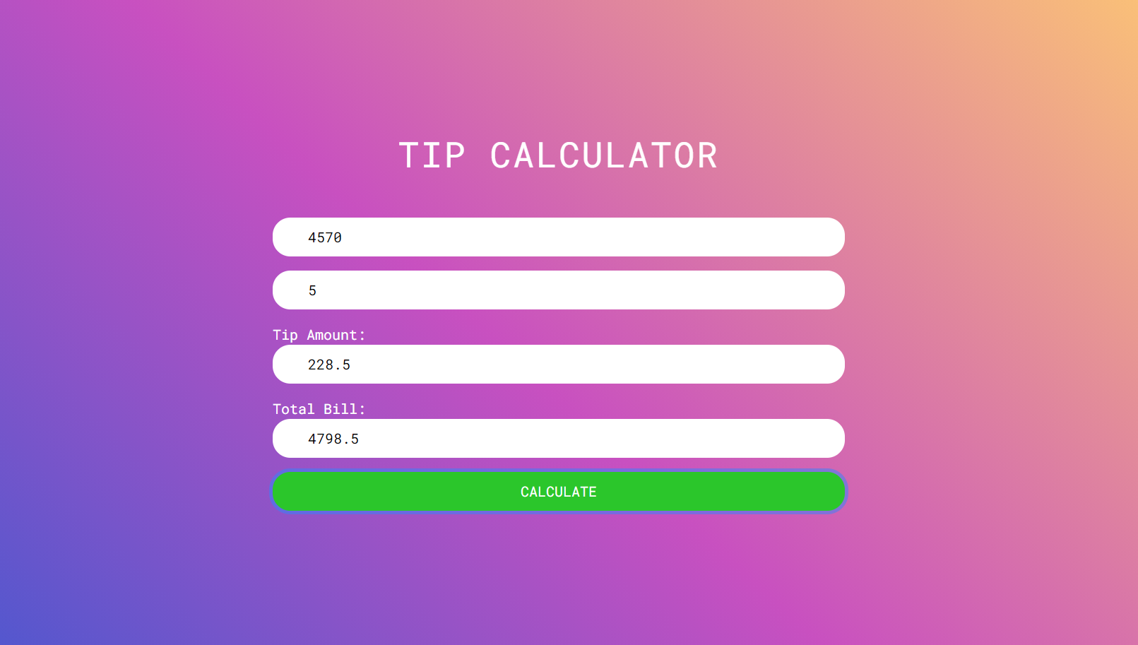 JavaScript tip calculator