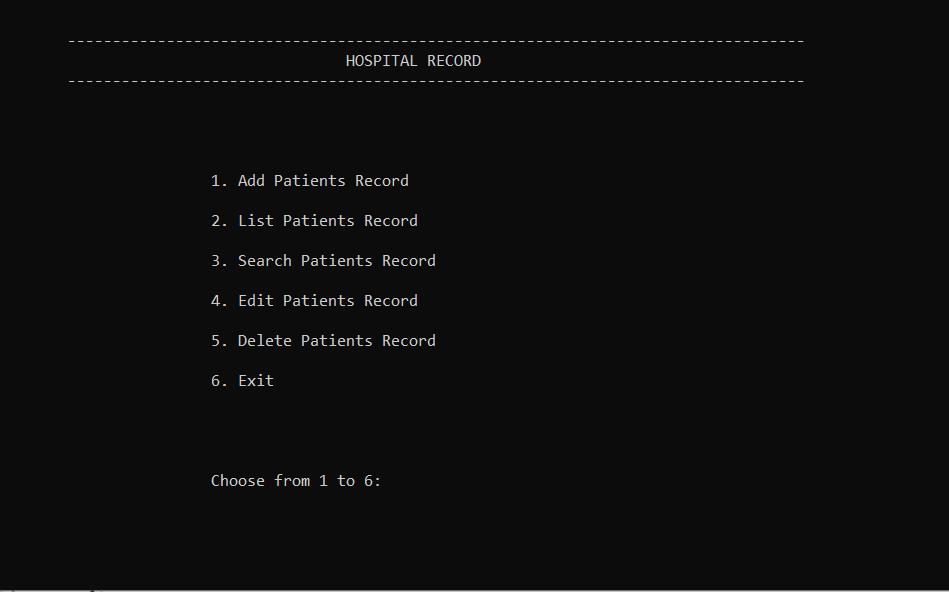 hospital record system
